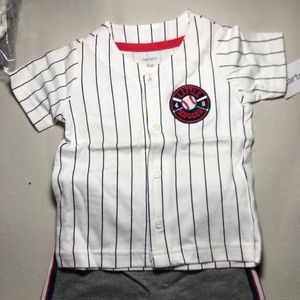 NWT Carters 2 Piece Baseball Short Set 6 months
